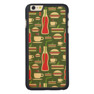 Grunge Fast Food Icons Set Pattern Carved Maple iPhone 6 Plus Case