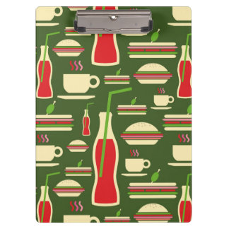 Grunge Fast Food Icons Set Pattern Clipboard