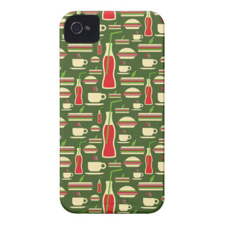 Grunge Fast Food Icons Set Pattern iPhone 4 Case