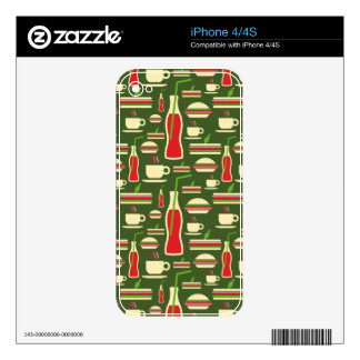 Grunge Fast Food Icons Set Pattern iPhone 4S Decal