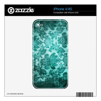 Grunge filigree pattern in teal. iPhone 4 decals