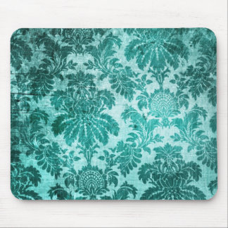 Grunge filigree pattern in teal. mouse pad