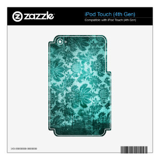 Grunge filigree pattern in teal. skins for iPod touch 4G