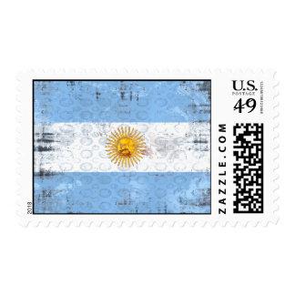 Grunge flag of Argentina for La Albiceleste fans Stamp