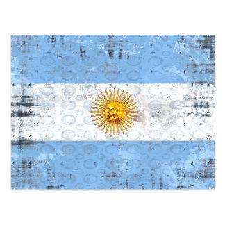 Grunge flag of Argentina for La Albiceleste fans Postcard