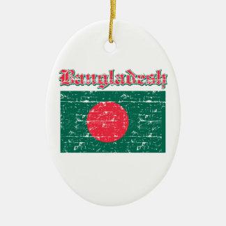 Grunge Flag of Bangladesh Christmas Tree Ornaments