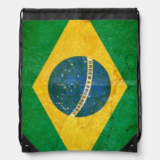 Grunge Flag of Brazil Drawstring Backpack