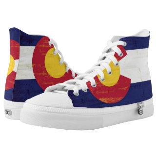 Grunge Flag of Colorado Printed Shoes