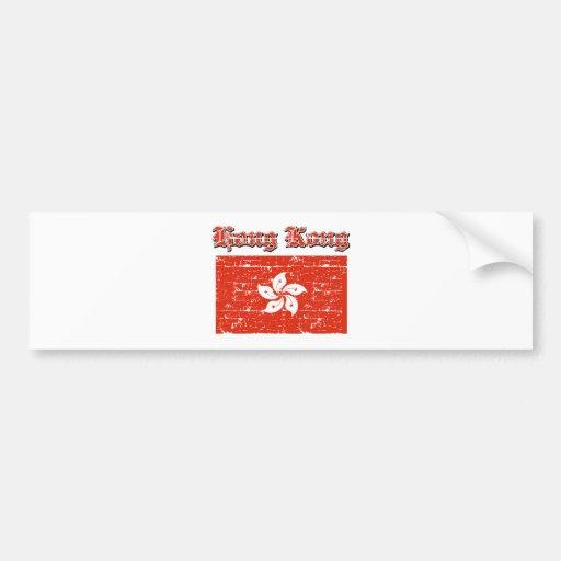 Grunge Flag of Hong Kong Car Bumper Sticker