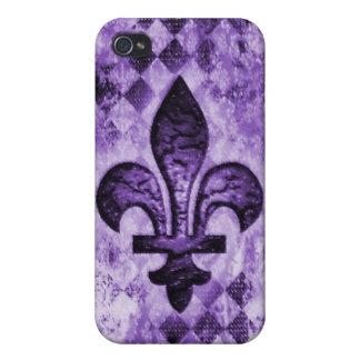 Grunge Fleur De Lis i Covers For iPhone 4