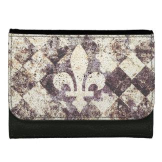 grunge fleur de lis on dimond leather wallet for women