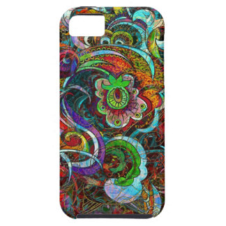 Grunge floral abstracto colorido de los remolinos funda para iPhone SE/5/5s