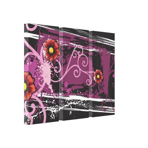 Grunge floral abstracto impresión en lona