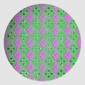 Grunge Floral and Argyle Purple and Green Stickers