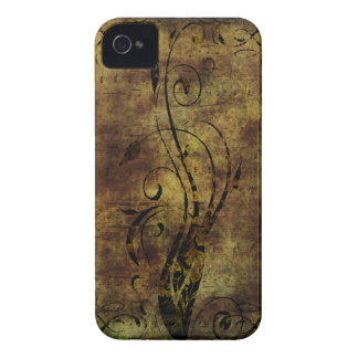 Grunge Floral and Musical Notes Rustic Brown iPhone 4 Case-Mate Case