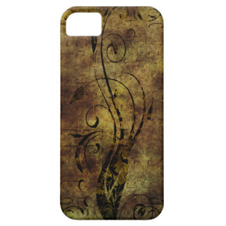 Grunge Floral and Musical Notes Rustic Brown iPhone SE/5/5s Case