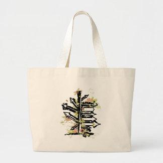 grunge floral arrows image canvas bags