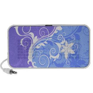 Grunge floral azul y blanco portátil altavoz