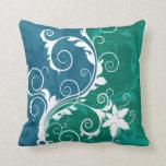 Grunge floral azul y verde blanco almohada