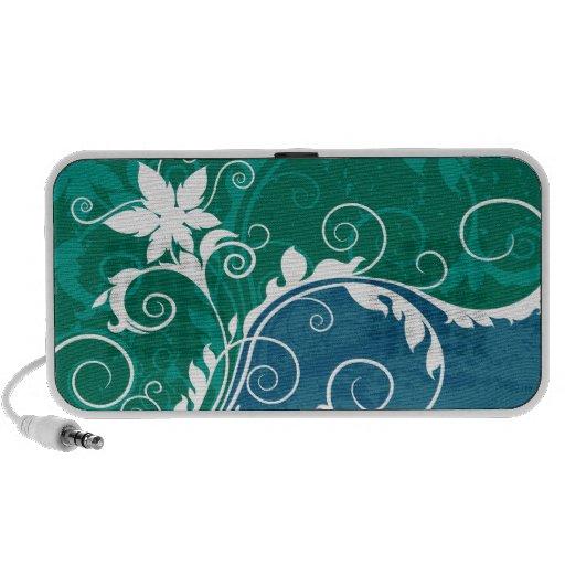 Grunge floral azul y verde blanco altavoz