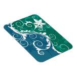 Grunge floral azul y verde blanco imán rectangular