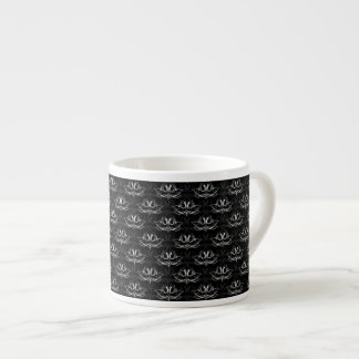 Grunge Floral: Black and White Espresso Cup