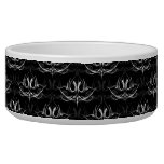 Grunge Floral: Black and White Pet Food Bowls