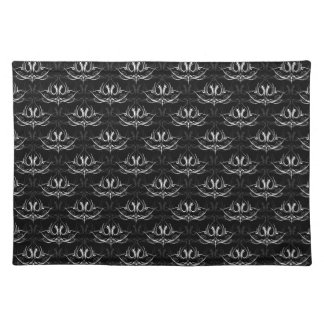 Grunge Floral: Black and White Placemat