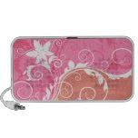 Grunge floral blanco y rosado altavoces de viajar
