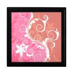 Grunge floral blanco y rosado cajas de recuerdo