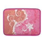 Grunge floral blanco y rosado fundas para macbook air