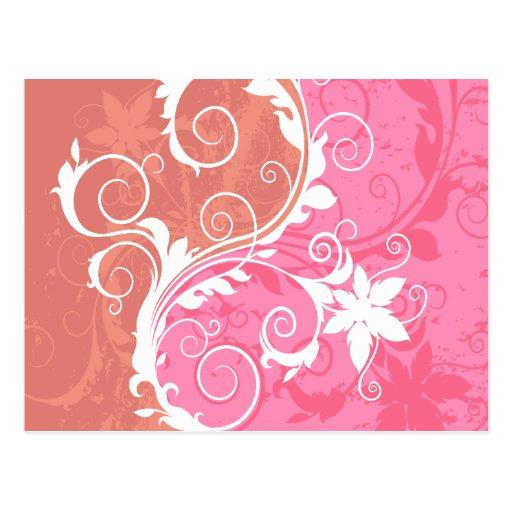 Grunge floral blanco y rosado tarjeta postal