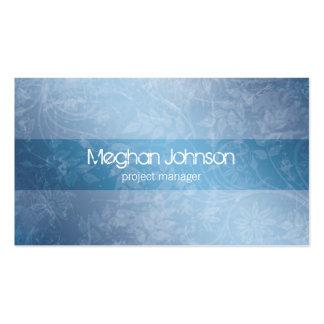 Grunge Floral Blue Trendy Business Card