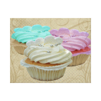 Grunge Floral Cupcakes Wrapped Canvas Canvas Prints