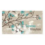 Grunge floral de las flores de la aguamarina del v tarjetas de negocios