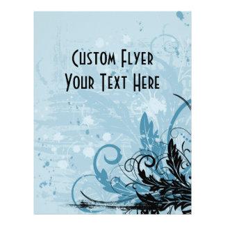 """Grunge Floral Design - Light Blue 8.5"""" X 11"""" Flyer"""