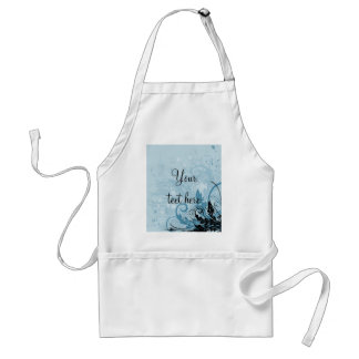 Grunge Floral Design - Light Blue Adult Apron