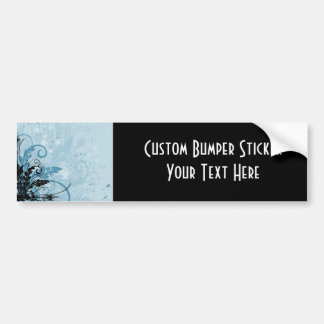 Grunge Floral Design - Light Blue Bumper Sticker