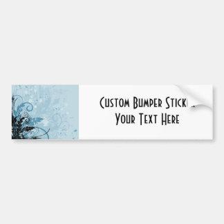 Grunge Floral Design - Light Blue Bumper Sticker