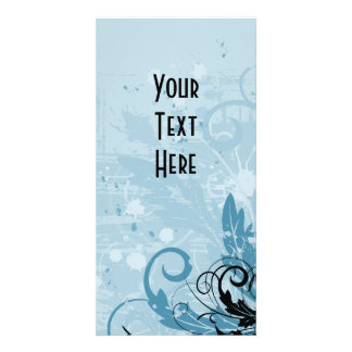 Grunge Floral Design - Light Blue Card