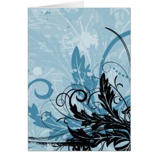 Grunge Floral Design - Light Blue Card