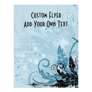 Grunge Floral Design - Light Blue Flyer