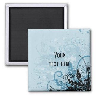 Grunge Floral Design - Light Blue Magnet