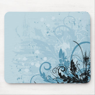 Grunge Floral Design - Light Blue Mouse Pad