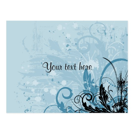 Grunge Floral Design - Light Blue Postcard