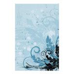 Grunge Floral Design - Light Blue Stationery