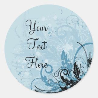 Grunge Floral Design - Light Blue Classic Round Sticker