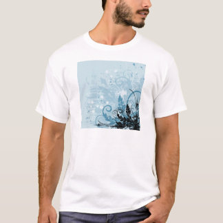 Grunge Floral Design - Light Blue T-Shirt