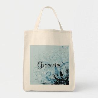 Grunge Floral Design - Light Blue Tote Bag