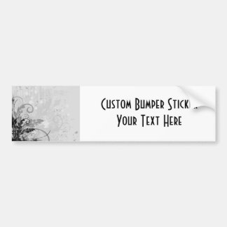 Grunge Floral Design - Light Grey B&W Bumper Sticker